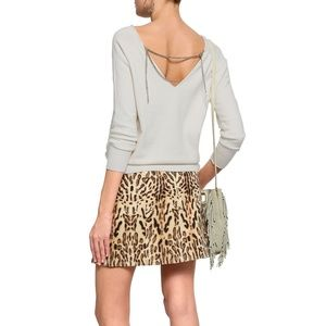 Maje white sweater with gold chains sz 8